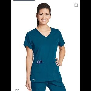 Greys Anatomy Teal Active Stretch Scrub Top Large